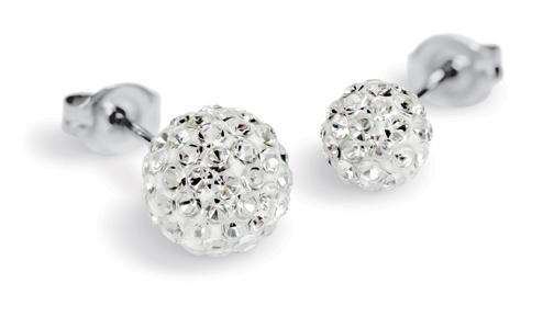 Valentijnsgeschenken voor haar: Sensitive by Studex Vuurbal-oorstekers, kristal, 4.5 mm, chirurgisch staal
