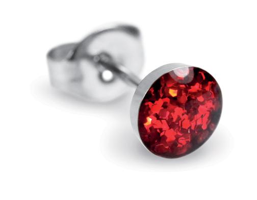 Valentijnsgeschenken voor haar: Sensitive by Studex 'Novelty'-oorsteker, glitter-rood, 5 mm, chirurgisch staal